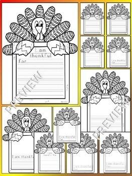 Thanksgiving NO PREP Turkey Writing Templates Differentiated Kindergarten - 4th