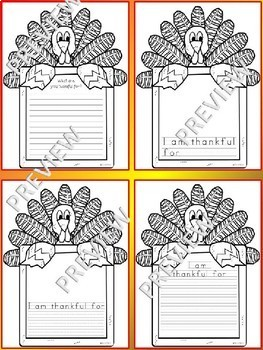 Thanksgiving Bulletin Board NO PREP Turkey Writing Templates - I am thankful for
