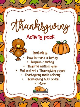 Thanksgiving Activities Pack - Disguise a Turkey, How to Make a Turkey and more!