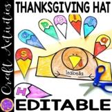 Thanksgiving Name Hat Printable   Turkey Editable Name Hat Craft