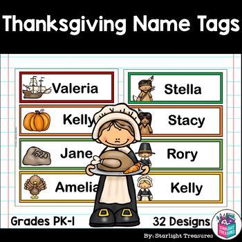 Thanksgiving Name Tags - Editable