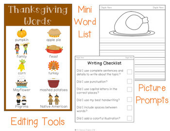 Thanksgiving Napkin Book Writing Prompts