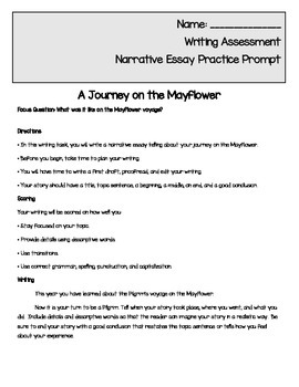 Thanksgiving Writing Prompt - A Journey on the Mayflower