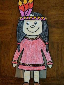 Thanksgiving Native American Boy and Girl Puppet