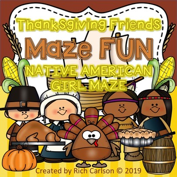 Thanksgiving Native American Girl Maze! Thanksgiving FUN! (Color & Black Line)