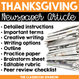 Thanksgiving Newspaper Article (creative writing, template, & editable rubric)