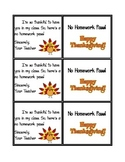 Thanksgiving No Homework Passes!