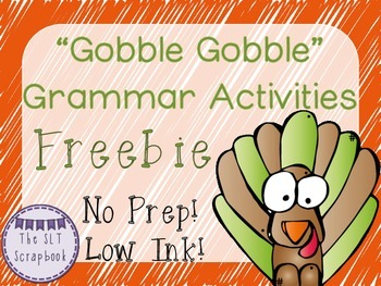 Thanksgiving No Prep Grammar Pack Freebie