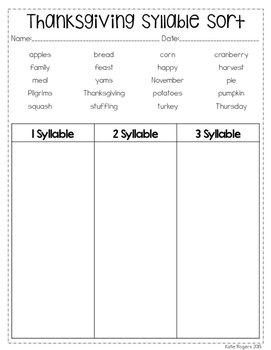 Thanksgiving No Prep Literacy Pack