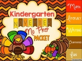 Thanksgiving No Prep Packet - Kindergarten