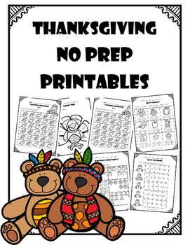 Thanksgiving No Prep Printables - Kindergarten