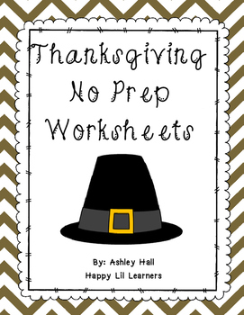 Thanksgiving No Prep Worksheets