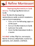 Thanksgiving Nomenclature Cards