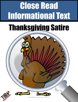 Thanksgiving Activities Non-Fiction Analyzing Satire Close Reading