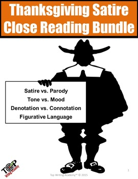 Thanksgiving Activities Non-Fiction Analyzing Satire Close Reading Bundle