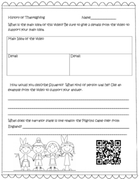 Thanksgiving Non-Fiction QR Code Story With Graphic Organizers
