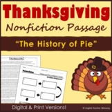 Thanksgiving Nonfiction Article - The History of Pie