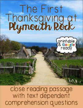 Thanksgiving Nonfiction Close Reading Comprehension Passage and Questions