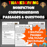 Thanksgiving Nonfiction Comprehension Passages