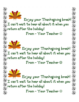 Thanksgiving Note to Students