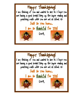 Thanksgiving- Note to send home to students over thanksgiving break