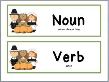 Thanksgiving Noun & Verb Sort