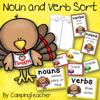 Thanksgiving Noun and Verb Sort
