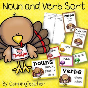 Thanksgiving Noun and Verb Sort