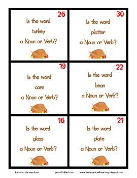 Thanksgiving Noun or Verb Cards