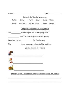 Thanksgiving Noun worksheet