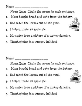 Thanksgiving Nouns - Formative Assessment