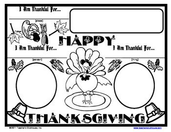 Thanksgiving Nouns Placemat