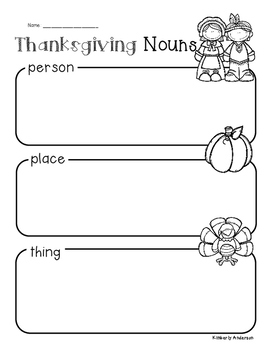Thanksgiving: Nouns Sort Practice