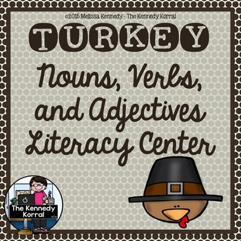 Thanksgiving Nouns, Verbs, Adjectives {Anchor Charts, Center, Cards & MORE!}