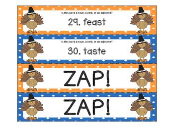 Thanksgiving Nouns, Verbs, Adjectives ZAP!