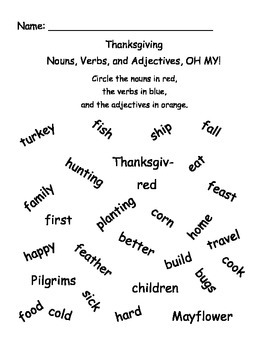 Thanksgiving: Nouns, Verbs, and Adjectives, OH MY!