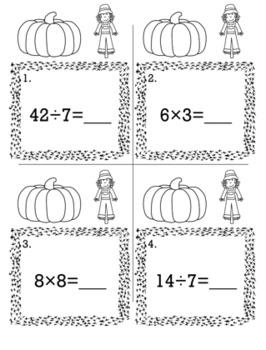Thanksgiving November 3rd Grade {Scoot Game/Task Cards} Math Bundle