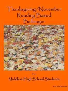 Thanksgiving/November Bellringers for Middle & High School