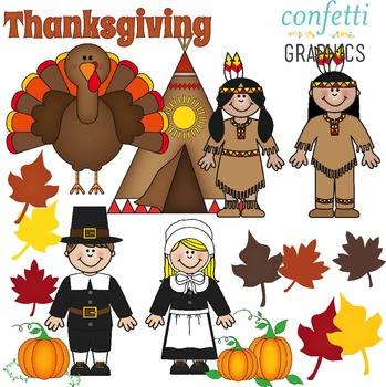 November Clip Art Set Thanksgiving Pilgrim Indian Pumpkin Turkey Fall Leaves