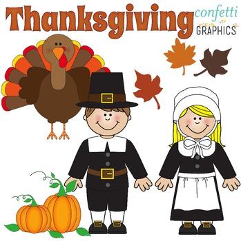November Clip Art Set Thanksgiving Pilgrim Indian Pumpkin Turkey Fall Leaves