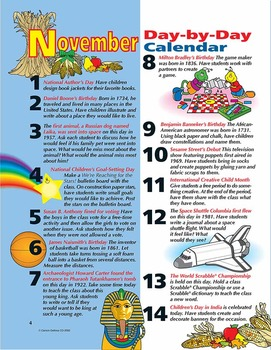 Thanksgiving November Day By Day Calendar Activities Grades 1-3
