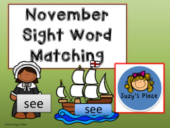 Thanksgiving/November Journeys Kindergarten Sight Word Matching Center