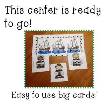 Thanksgiving/November Kindergarten Sight Word Matching Center