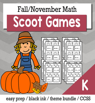Thanksgiving November Kindergarten {Scoot Game/Task Cards} Math Bundle