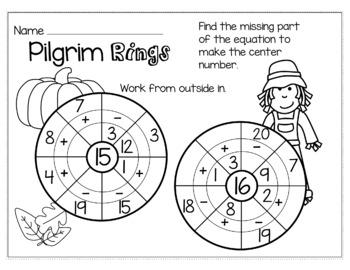Thanksgiving November Math for 1st Grade - NO PREP Packet