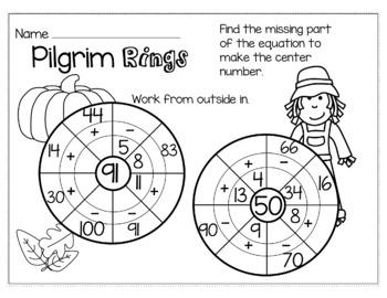 Thanksgiving November Math for 2nd Grade - NO PREP Packet