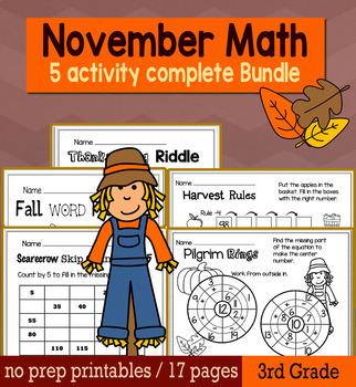 Thanksgiving November Math for 3rd Grade - NO PREP Packet