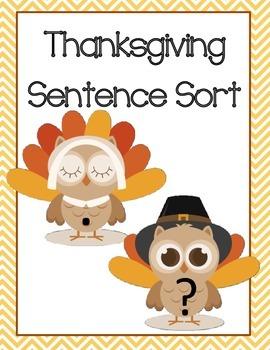 Thanksgiving November Sentence Sort Center
