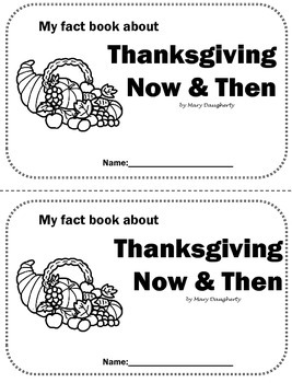 Thanksgiving Now & Then Nonfiction Book Close Activity