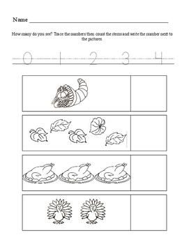 Thanksgiving Number Activity Set For Kindergarten